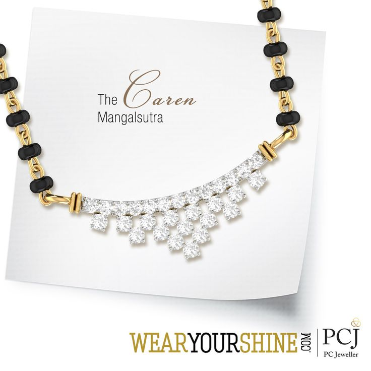 "Mark a happy beginning to your life with ""The Caren Diamond Mangalsutra"" by WearYourShine.  #WearYourShine #PCJeweller #IndianJewellery #Jewelry #Mangalsutra #WeddingJewellery #Weddings #Love #Connections #Happiness #Beginnings"