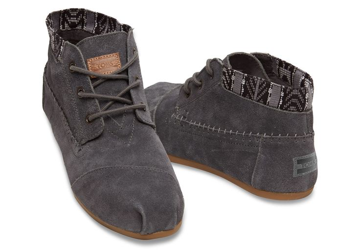 Dark Grey Trim Suede Women's Tribal Boots | TOMS — need some decent dress / walking shoes (size 8)