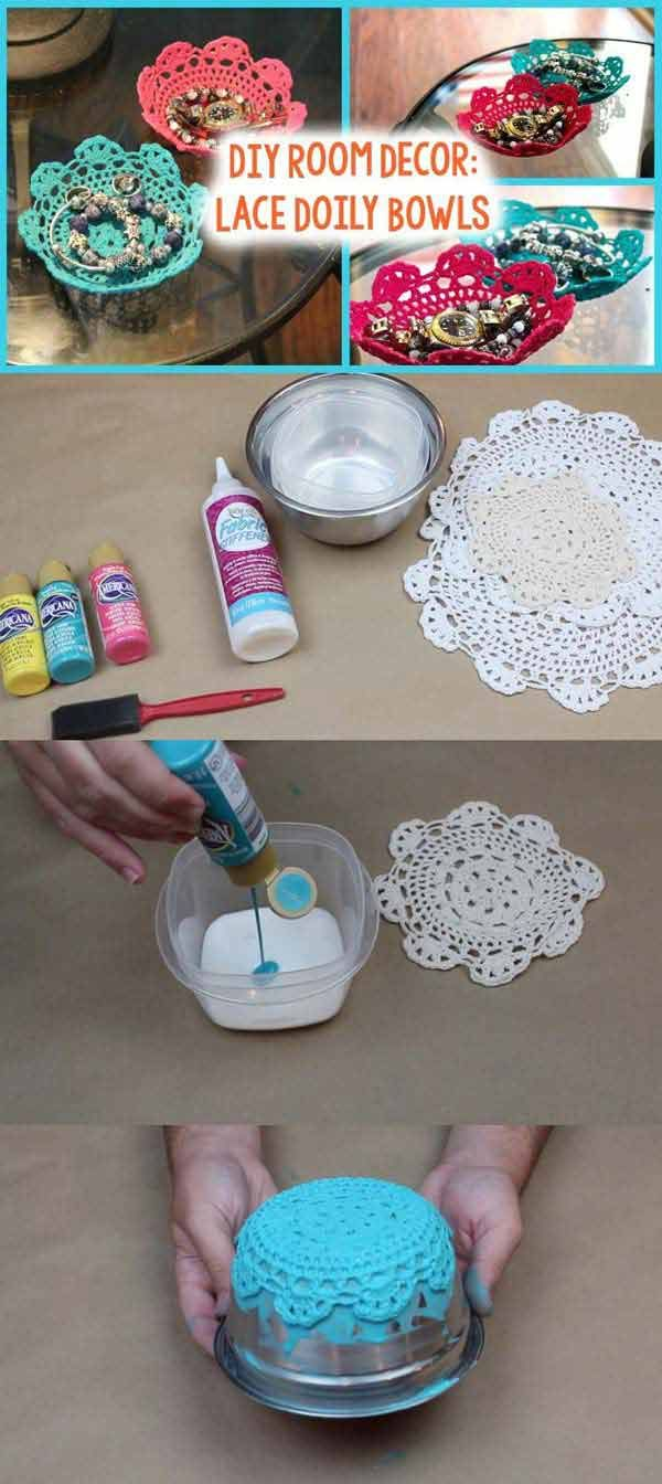 DIY Lace Doily Bowl: Top 22 Charming Home Decorating DIYs Can Make With Lace