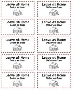 Folder Labels for homework to school.  Both English and Spanish! Prints on a 2x4 inch label.