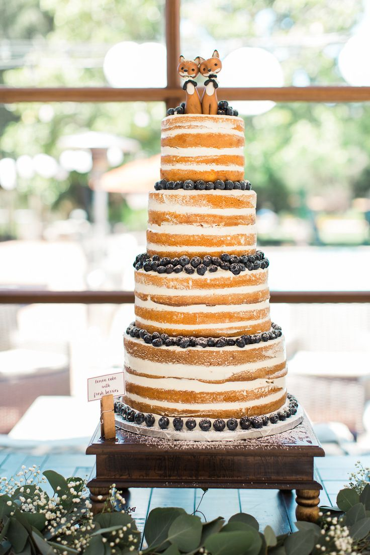 Rustic Naked Cake, Wedding Cake, Fox Cake Toppers