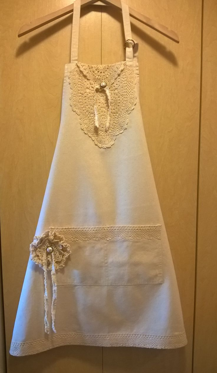 Upcycled shabby chic apron I made using vintage doiles, lace and buttons! Very girly! Apronology by Karen