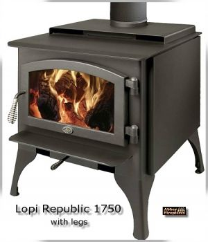 Lopi Republic 1750 freestanding slow combustion wood heater by Abbey Fireplaces.