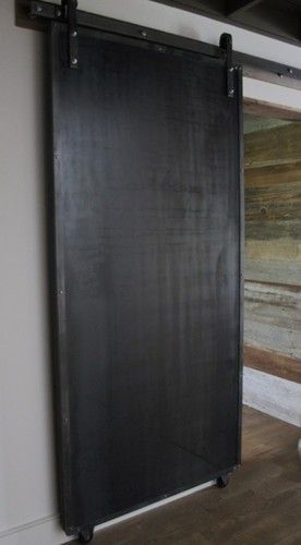 Sliding Doors: Reclaimed Wood & Raw Steel modern interior doors (would love to paint one side with chalkboard paint, ie the side that faces the kitchen. k)