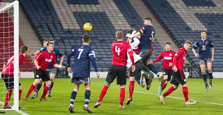Queen's Park's Ryan McGeever heads the ball home during the Ladbrokes League One game between Queen's Park and Brechin City.