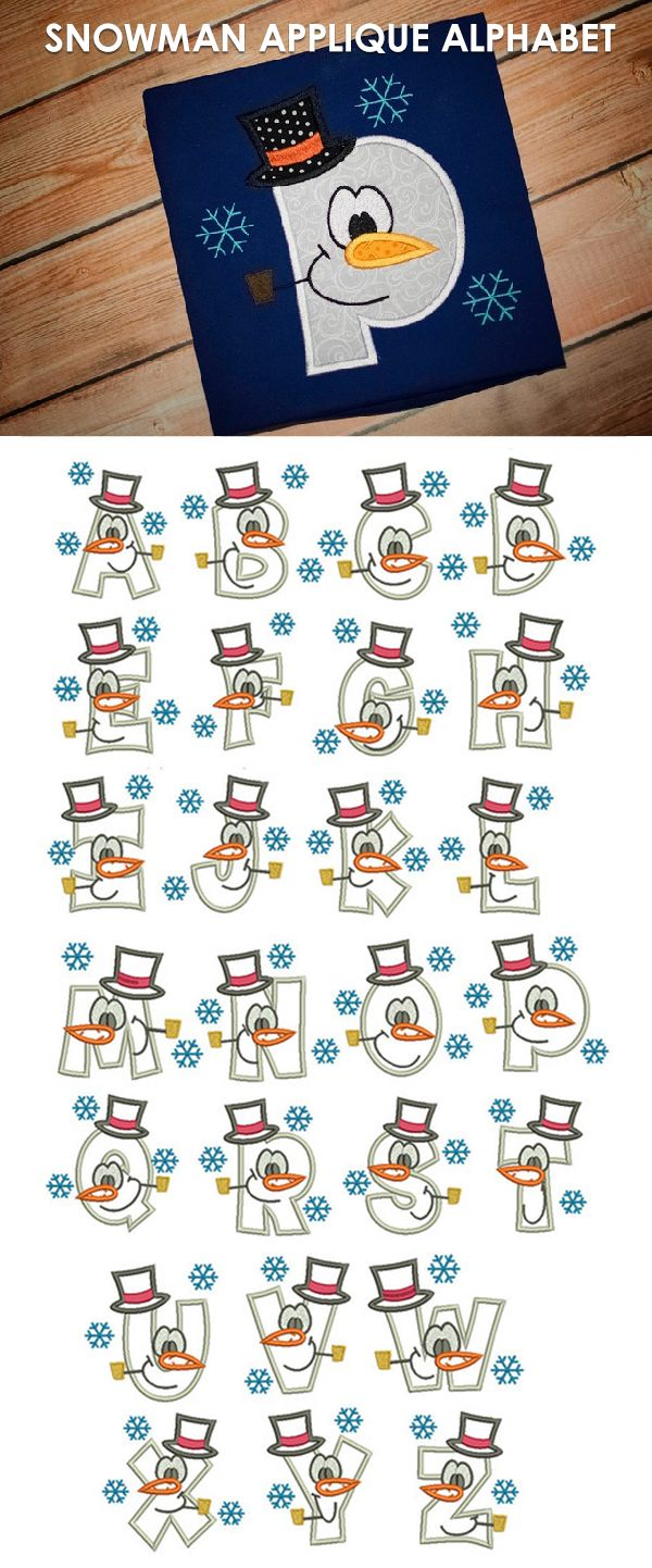 Available in a range of different colour designs instant downloadable - Snowman Applique Alphabet Designs By Juju Machine Embroidery Store View
