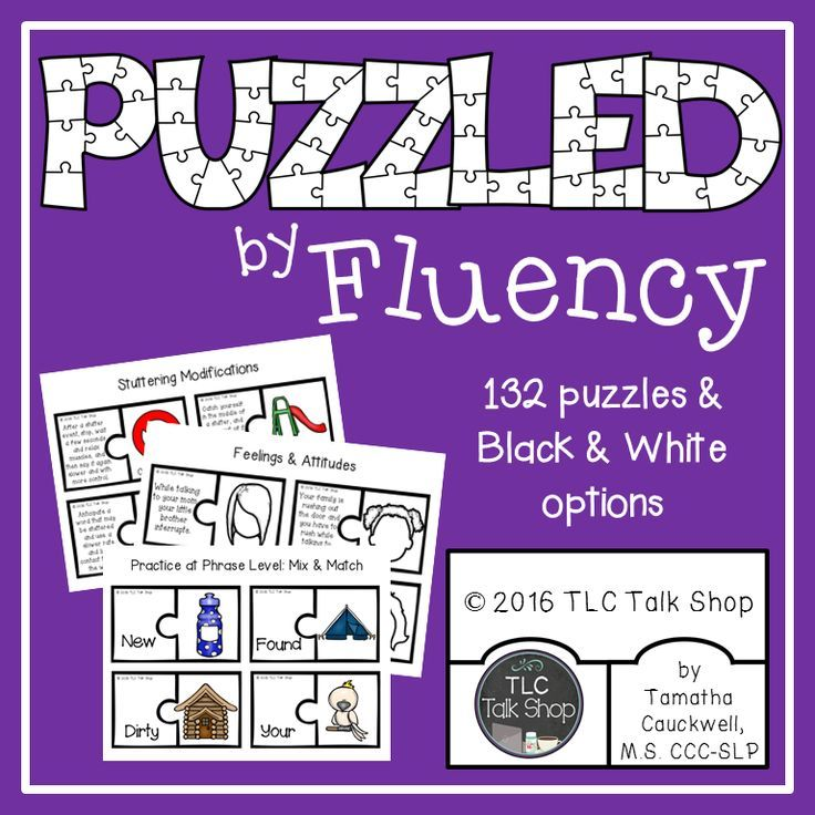 Fluency puzzles (132 puzzles) working on: type of disfluency definitions, fluency shaping and stuttering modification technique definitions, fears, feelings and attitudes, desensitization and problems solving social situations, and using strategies for the word, phrase, sentence, and narrative levels!