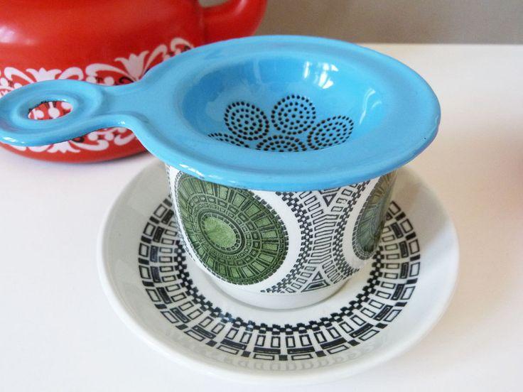 Danish enamel  vintage tea strainer by planetutopia on Etsy