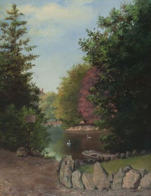 Sister Mary Osithe (née Elizabeth LaBossière), Goodacre Lake, Beacon Hill Park, date unknown, oil on canvas, On Deposit at the Art Gallery of Greater Victoria from the Collection of the Sisters of St. Ann, Victoria, B.C.