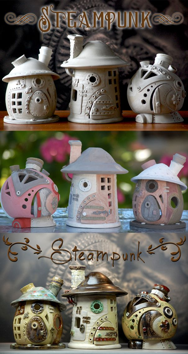 Little steampunk fairyhouses before glazing, after glazing and after firing