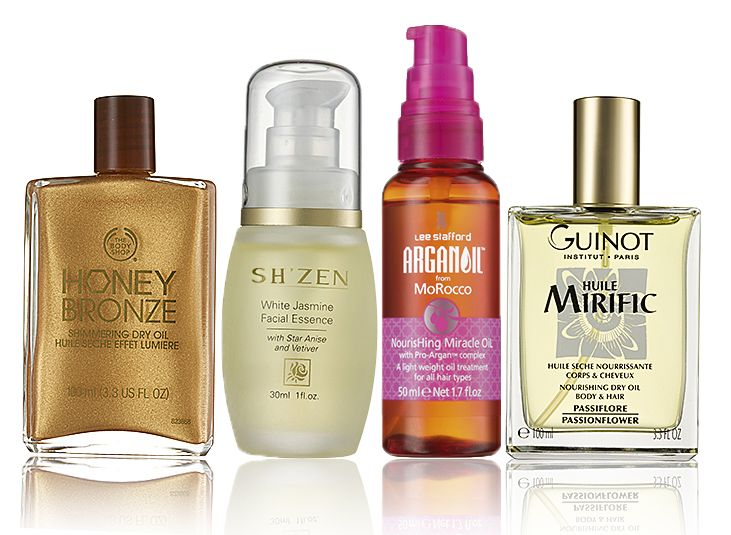 """Beauty oils are at the top of our """"must-have"""" list this season  BODY The Body Shop Honey Bronze Shimmering Dry Oil to soften, smooth and nourish skin FACE After cleansing, apply Sh'Zen White Jasmine Facial Essence gently pressing into your skin, for a glowing complexion HAIR Lee Stafford Argan Oil from MoRocco Nourishing Miracle Oil over your hair for healthy locks with a lustrous shine HAIR & BODY Guinot Huile Mirific Nourishing Dry Oil is easily absorbed and doesn't leave a greasy residue"""