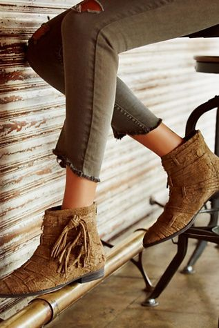 FP Collection Decades Ankle Boot at Free People Clothing Boutique   Textured raw suede ankle booties featuring beautiful strap detailing throughout.