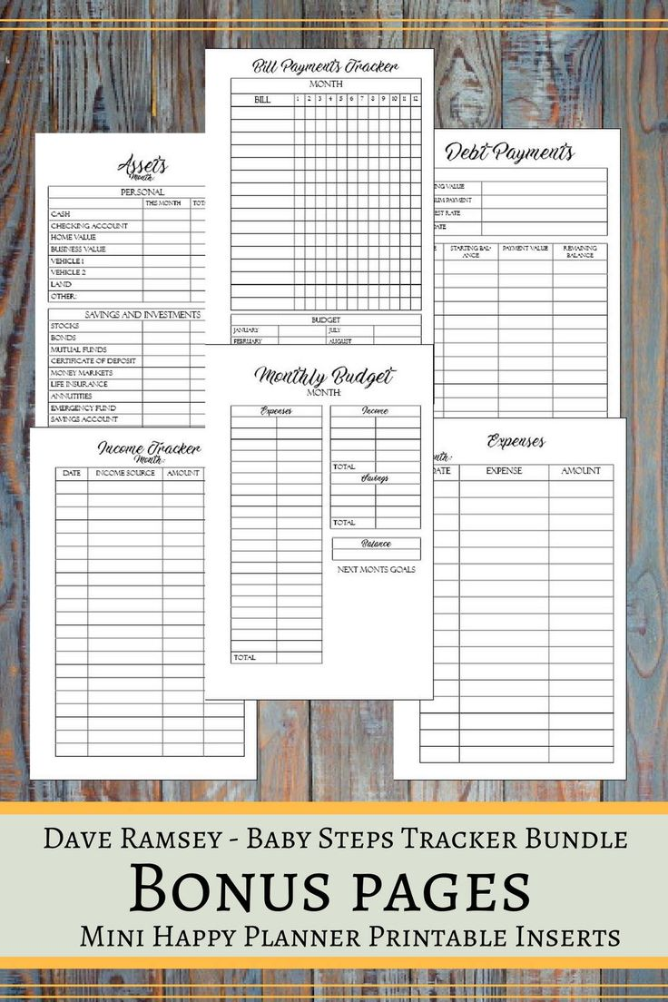 Baby Steps Tracker Printable Planner Pages For The Mini Happy Planner, Dave Ramsey Financial Peace Program Planner, Debt Snowball Planner  ▶ WHATS INCLUDED:  You will get 1 ZIP file containing the following forms: Baby Steps Pages ► Baby Step 1 ► Baby Step 2 ► Baby Step 3 ► Baby Step 4 ► Baby Step 5 ► Baby Step 6 ► Baby Step 7 ► Baby Steps Overview  Bonus Pages ► Income Tracker ► Expenses ► Bill Payments Tracker ► Debt Payments ► Monthly Budget ► Assets  ▶Every insert design has the…