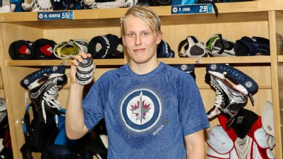 Jets rookie forward Patrik Laine scored a hat trick Wednesday against Toronto, including the game-winning goal in overtime.