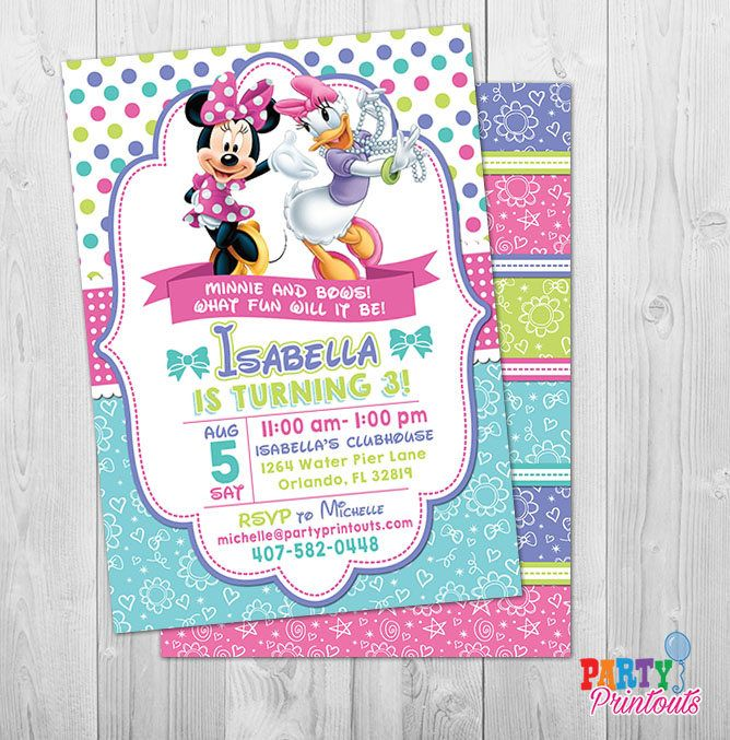 Minnie Bow Tique Invitation Bowtique Invitations Mouse Invites 1st 2nd 3rd Birthday Printable Party By