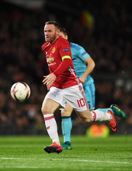 Wayne Rooney of Manchester United in action during the UEFA Europa League Group A match between Manchester United FC and Feyenoord at Old Trafford on November 24, 2016 in Manchester, England.