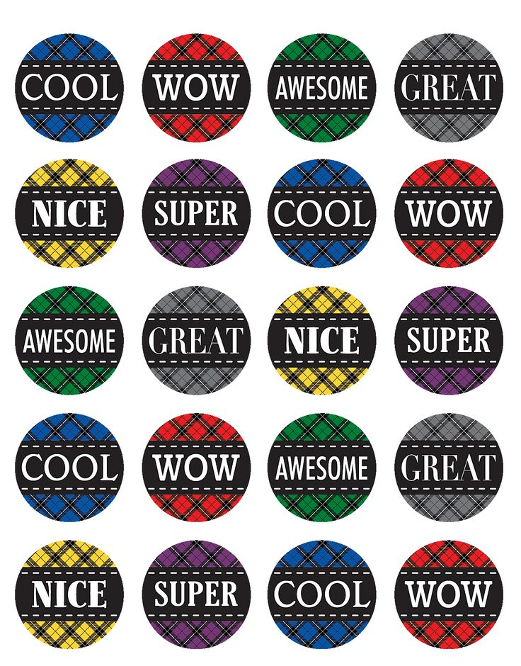 Plaid Reward Stickers - stickers are acid-free and lignin-free. 6 designs. Cool. Wow. Awesome. Nice. Great.