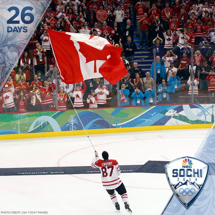 """""""26: Days 'til Sochi AND the number of Olympic medals Canada won at the Vancouver Games. Prior to 2010, Canada had never won gold at a home Olympics. By the end of the Games, Canada had won 14, with the men's hockey team capturing the final, and perhaps most coveted victory – a gold against the United States in overtime."""" (nbcolympics / Tumblr)"""