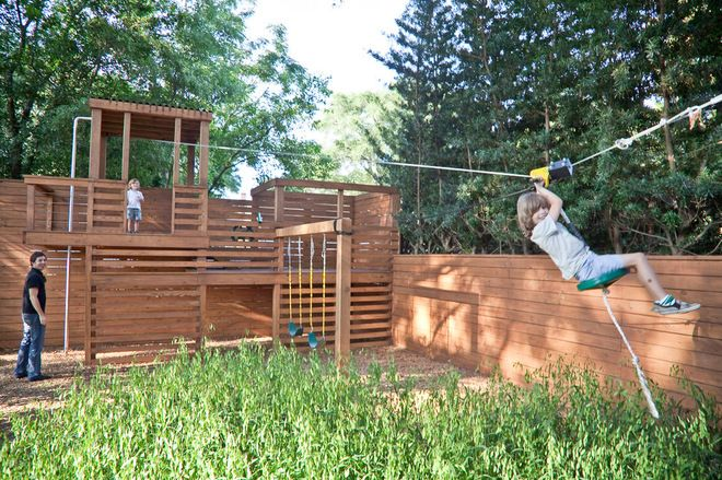 Create your own adventure playground. Add an element of surprise to a run-of-the-mill backyard play area with a zip line or tree house. Have a steep hill? Set up a rock climbing area on the hillside. Get creative and have fun — but remember to consult a pro to make sure any structure you build is safe before your kids use it.