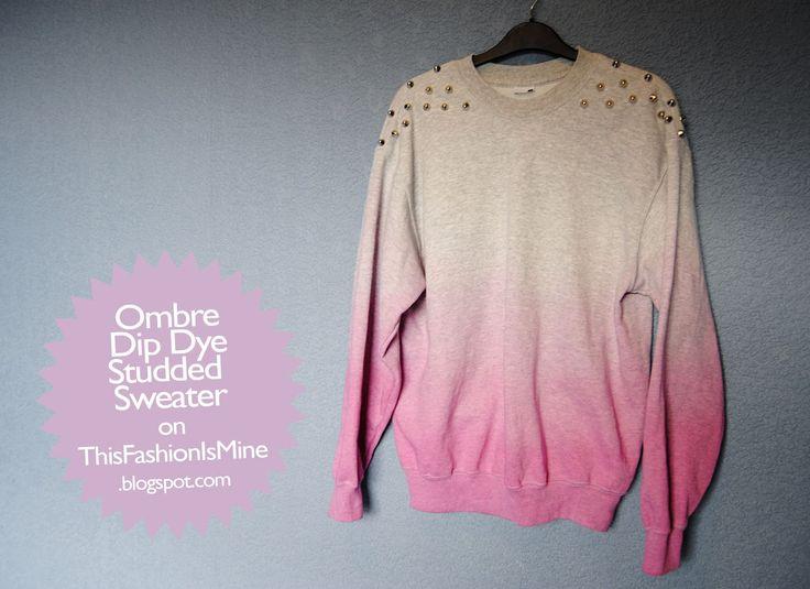DIY Ombre Studded Shoulder Sweater