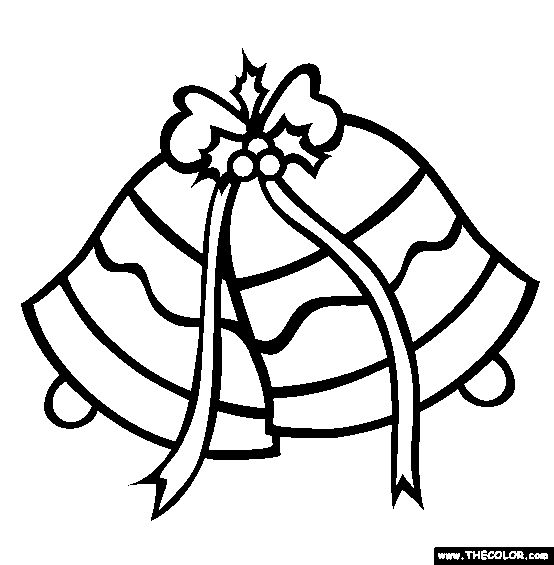 Christmas Silver Jingle Bells Online Coloring Page