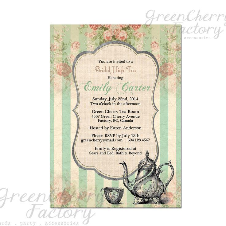 Tea Party Invitation - Bridal Baby Shower Birthday Tea Party Invites Mint Green Summer High Tea Spring Floral- No.42. $18.00, via Etsy.