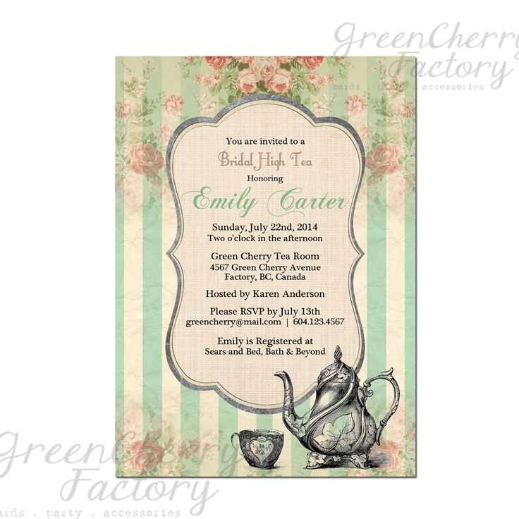 Tea Party Invitation - Bridal Baby Shower Birthday Tea Party Invites Mint Green Summer High Tea Spring Floral- No.42. $18.00, via Etsy.