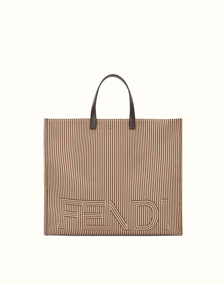 FENDI TOTE BAG - Two-tone striped nylon bag