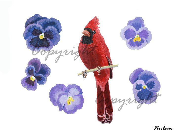 Cardinal art print male cardinal flower art print