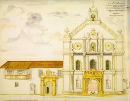 "Antonio Chacon y Conde (?). ""Vista de la ilumniacion de la fachada de la capilla de la Orden Tercera de San Francisco. (View of the Lighting of the Facade of the Chapel of the Third Order of Saint Francis. From an album commemorating the festivities in honor of the arrival of the portrait of King Felipe VII, 18 December 1825. Pen and ink and watercolor on paper. 41 cm. x 53.5 cm. Real Biblioteca del Palacio Real (Madrid) Collection. http://www.skyscrapercity.com/showthread.php?t=1591738"