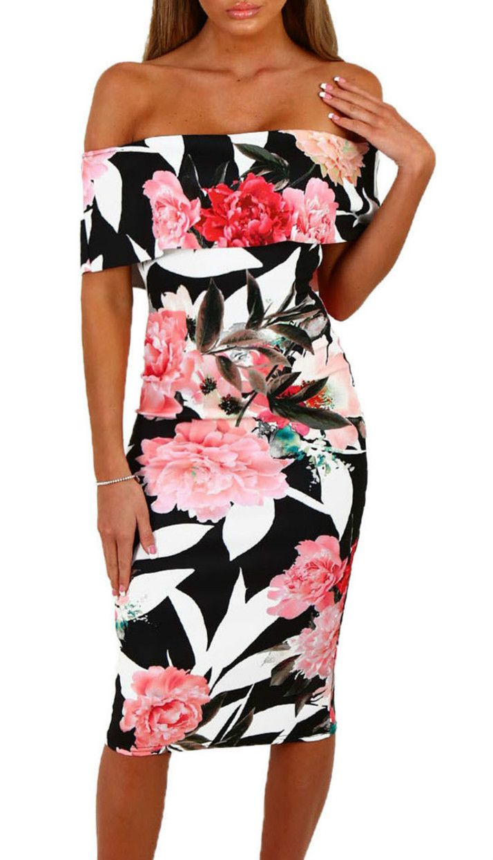 off Shoulder Floral Bodycon Midi Dress - OASAP.com