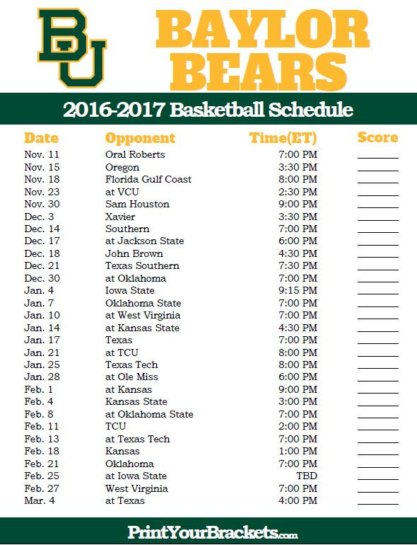 Baylor Bears 2016-2017 College Basketball Schedule