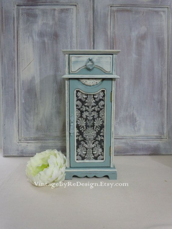 $54. VintageByRedesign. 14-1/2 x  6-1/4 x 4-3/4. French Shabby Jewelry Box. Hand Painted Duck Egg Blue. Tall Jewelry Storage. Damask. Decoupage. Sold. L.10/19/15.