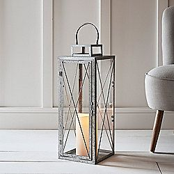 Tall Galvanised Metal Battery Outdoor LED Candle Lantern