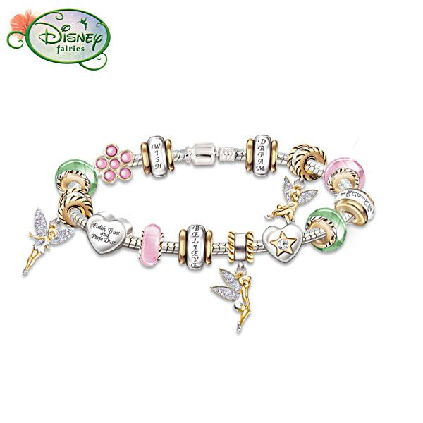 Sterling Silver Tinker Bell Charm Bracelet With Crystals All Things Tinkerbell Pinterest Disney And Belle