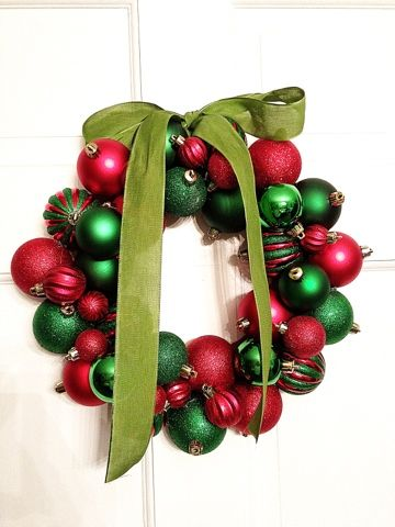 DIY Christmas Wreath with cheap ornaments