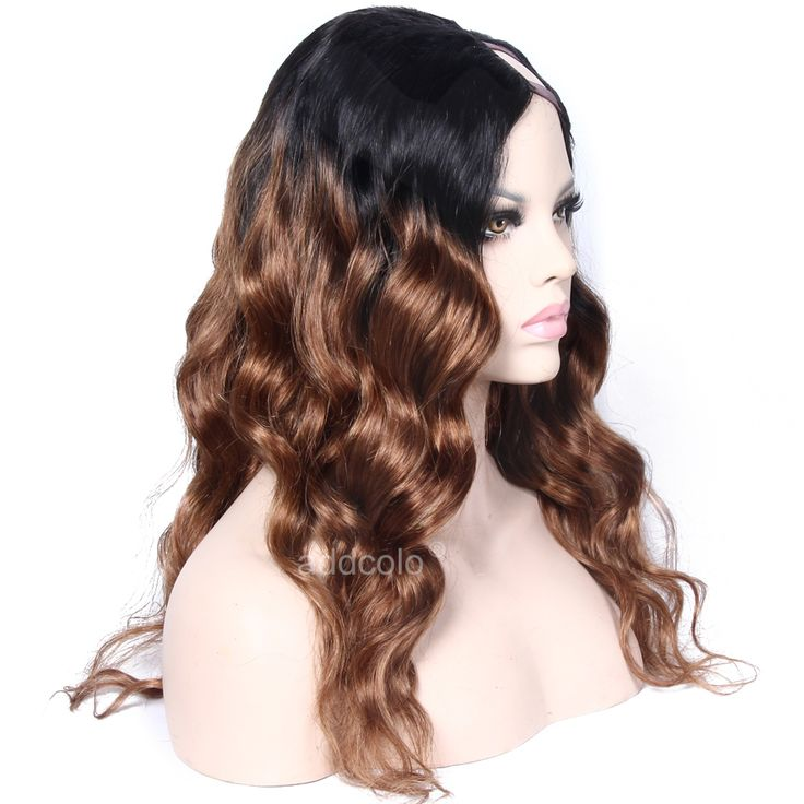 Midium Auburn 1B/30 Human Hair Ombre Wig Natural Wave