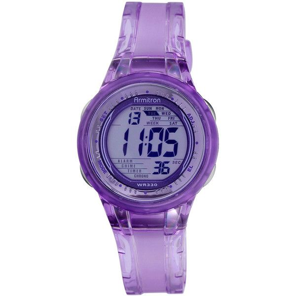 Armitron Womens Purple Jelly Digital Sport Watch ($26) ❤ liked on Polyvore featuring jewelry, watches, armitron, dial watches, buckle watches, digital wrist watch and alarm wrist watch