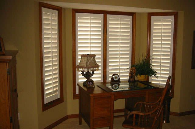 White plantation shutters with dark trim white for Indoor wood shutters white