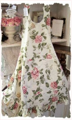 """This is a """"rosey apron""""...but it would make a pretty dress when worn with a white long sleeved lacy blouse and ivory leggings!"""