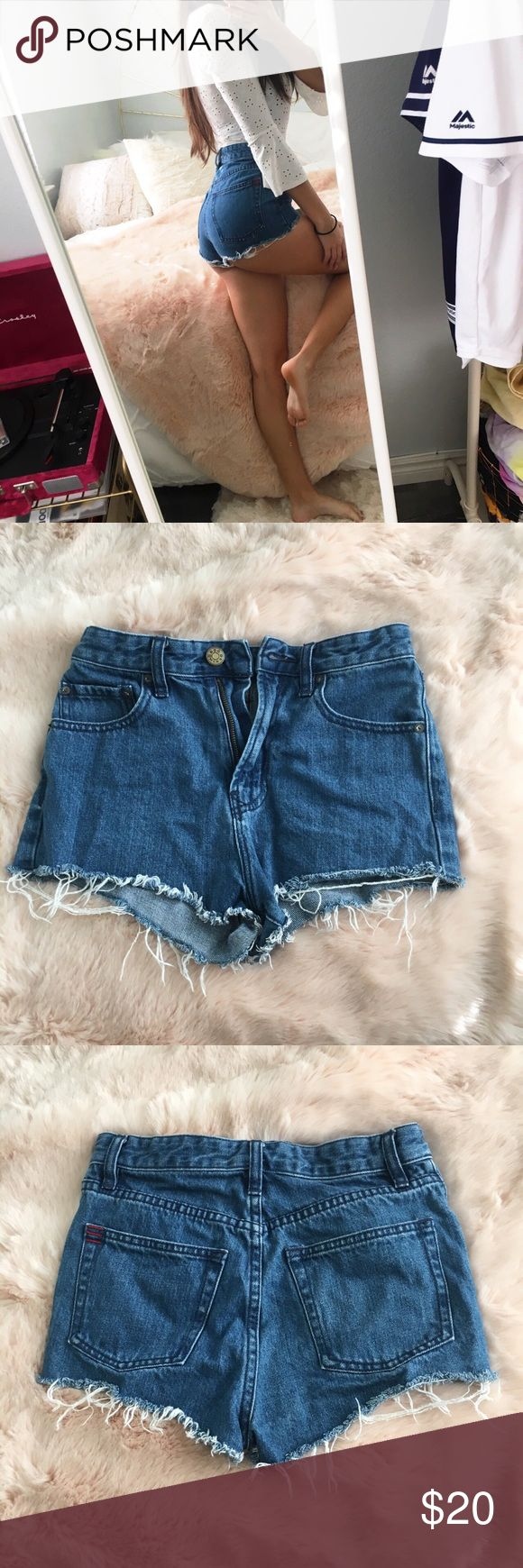 Urban Outfitters Dark Wash Distressed Shorts Urban Outfitters BDG Cheeky Super High Rise Denim Shorts Medium wash jean shorts Size 25W  In great condition, only worn a few times Fabric is not stretchy, fits true to size Urban Outfitters Shorts Jean Shorts