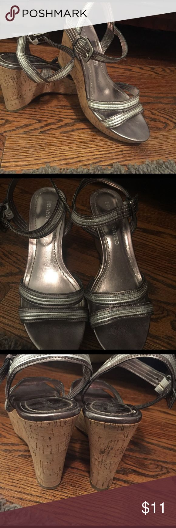 "Franco Sarto metallic wedges These are so cute and comfortable!! Pre- loved with a couple scuffs. (See pics) but when they're on your feet, you don't really notice them!! So much life left for someone new to enjoy!! All man made materials..""vegan leather"" Franco Sarto Shoes Wedges"