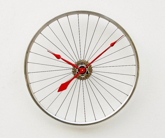 Recycled Specialized Bike Wheel clock by pixelthis on Etsy, $138.00