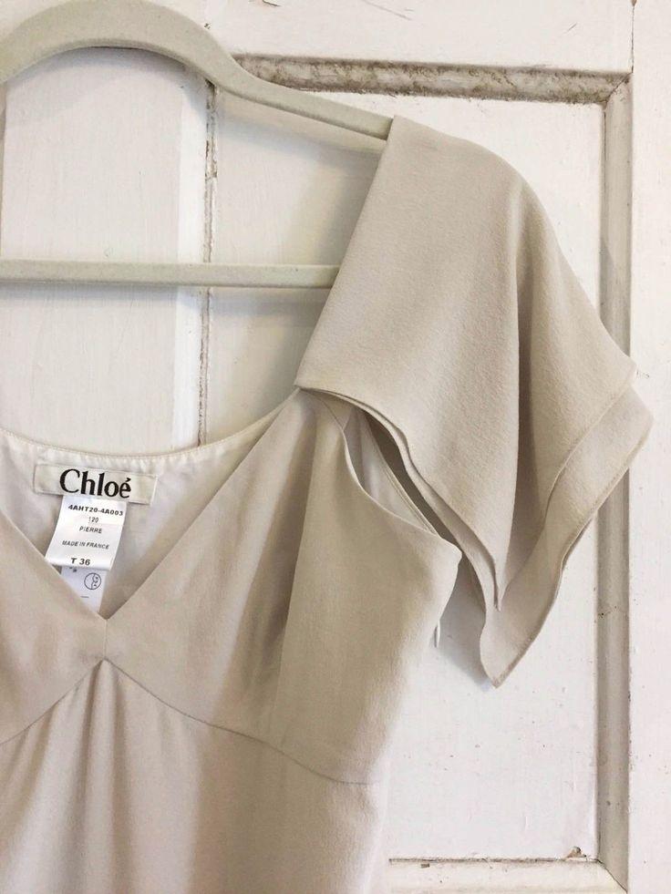 CHLOE Runway Pale Gray 100% Silk Blouse - size: 36 | eBay