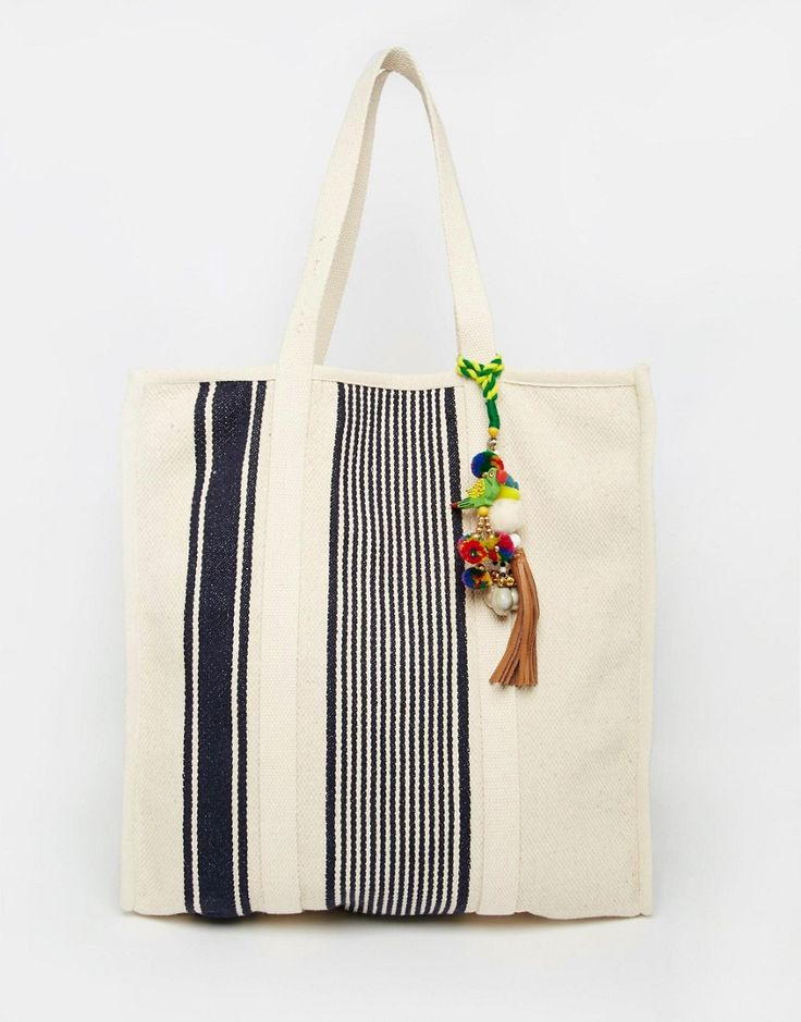 $65 | Star Mela Canvas Beach Bag with Navy Stripe & Pom Pom Tassel