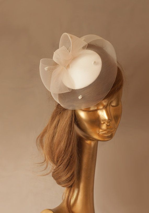 BRIDAL Ivory FASCINATOR with Dotted CRINOLINE . by ancoraboutique