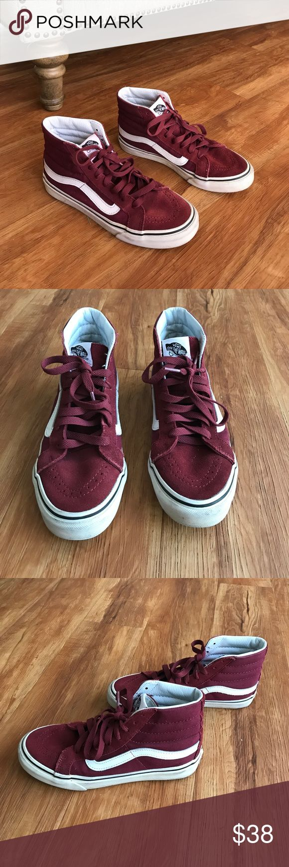 High too burgundy vans In really good condition. Size 6 in women. No trades. Offers welcome, but no low ballers. Vans Shoes