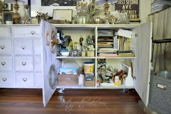 Vintage card catalog art cabinet