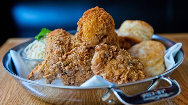 The Dutch fried chicken with biscuits