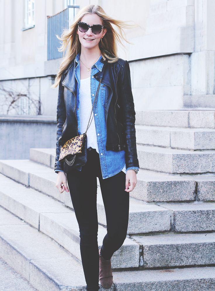 denim shirt denimskjorte modeblog læderjakke frakke mode tøj fashion blog blogger dr denim skinny jeans witchery zara levis stella mccartney...
